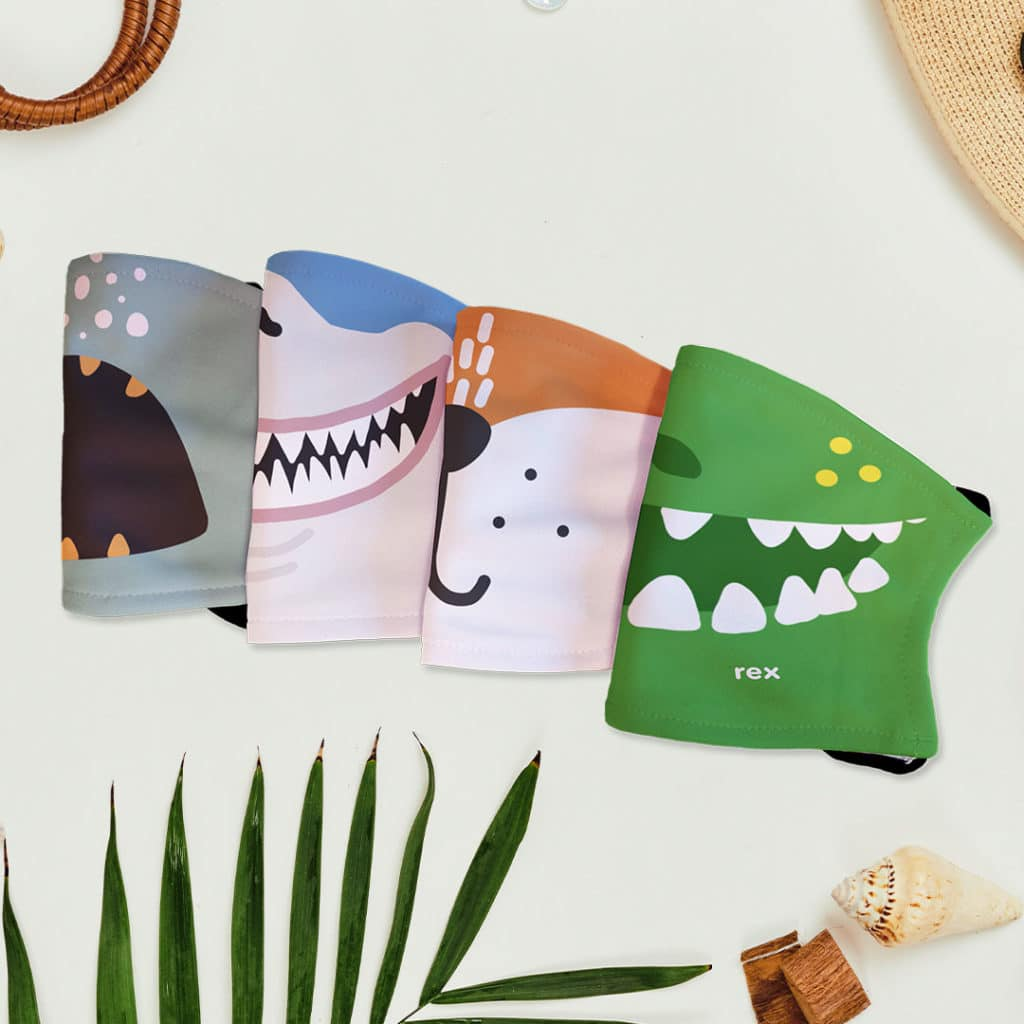 Face masks featuring animal designs