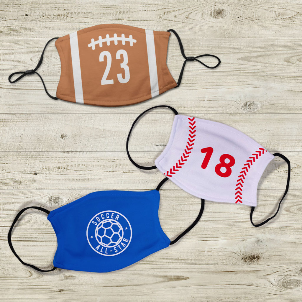 Face masks featuring sports designs